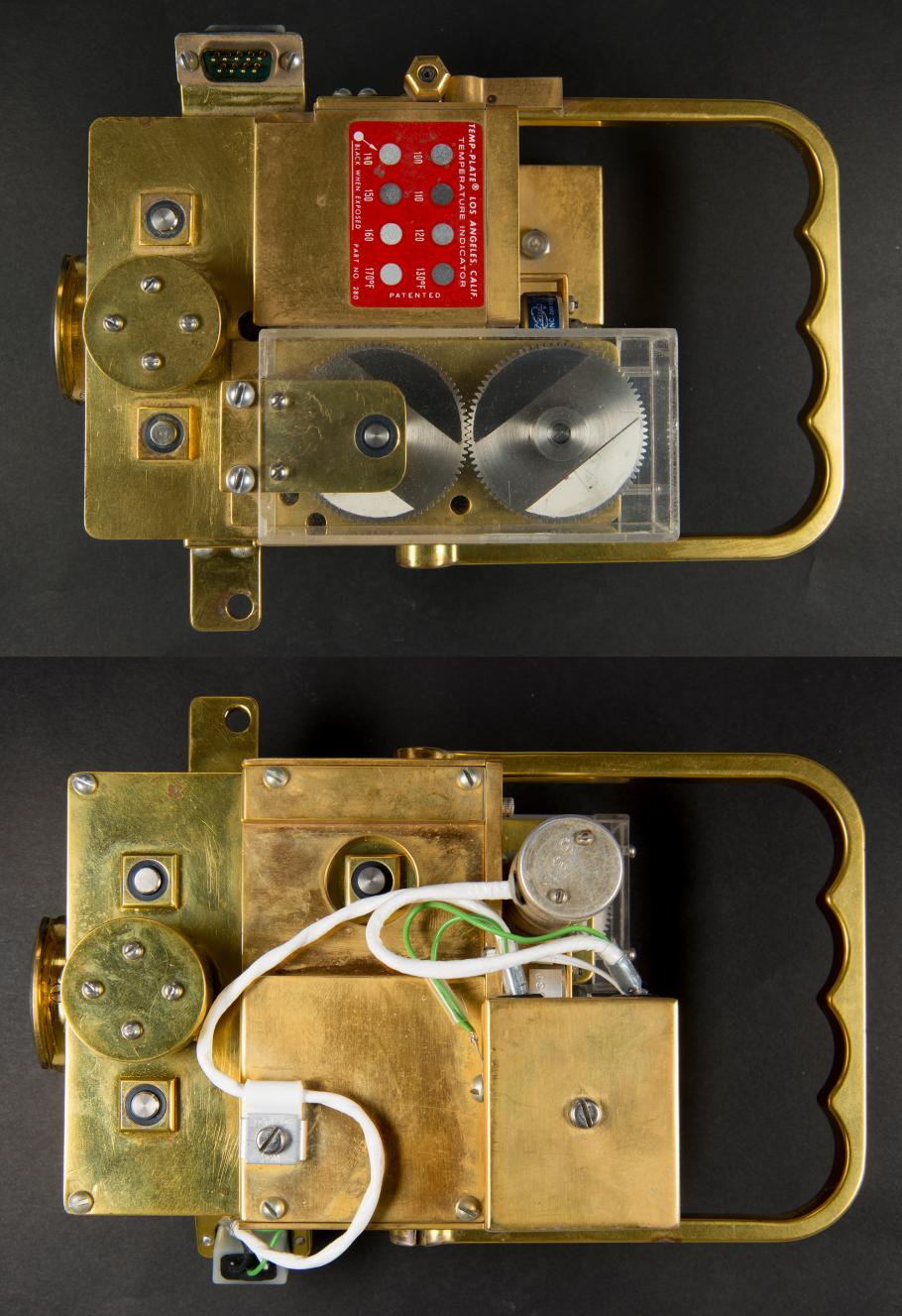 At top the front of the film transport, and at bottom the back.