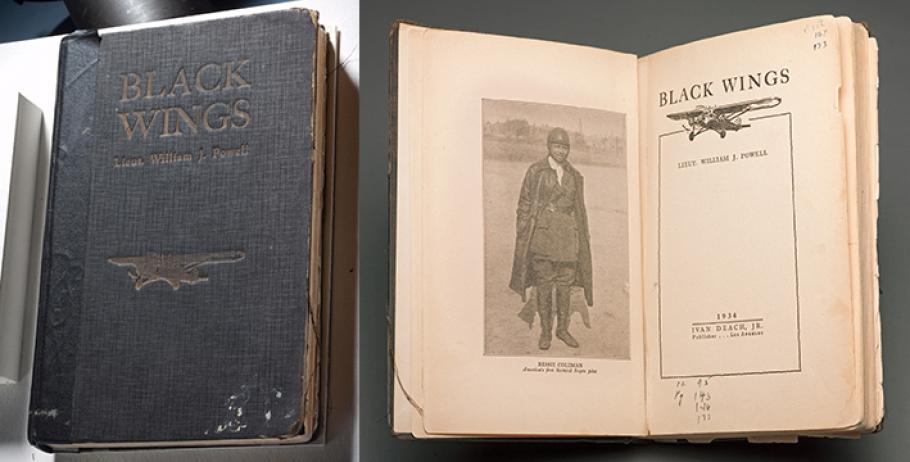 The front cover and inside flap of the Museum's copy of Black Wings.