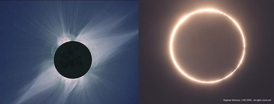 Two images of an eclipse side by side.