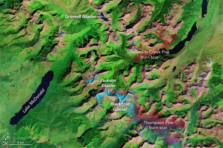 A satelIite image of the ice loss in Glacier National Park, August 23, 2015.