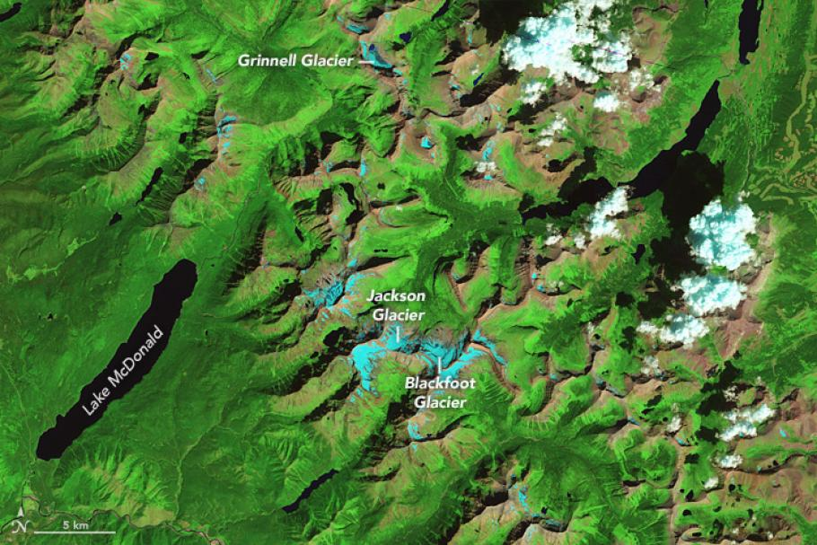 A satelIite image of the ice loss in Glacier National Park, August 17, 1984.