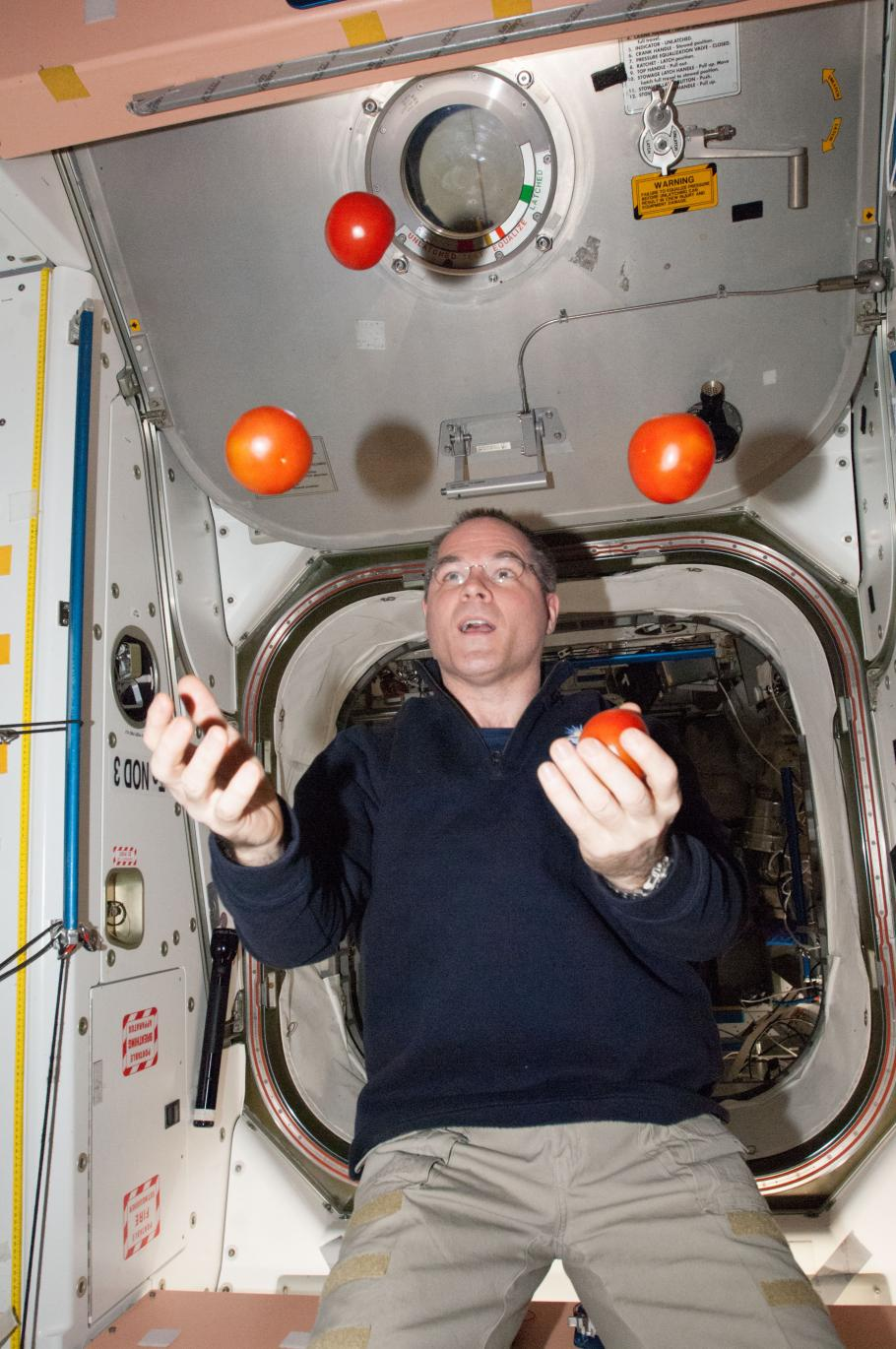 Expedition 34 Commander Kevin Ford juggles some tomatoes from a resupply spacecraft while aboard the ISS, 2013.