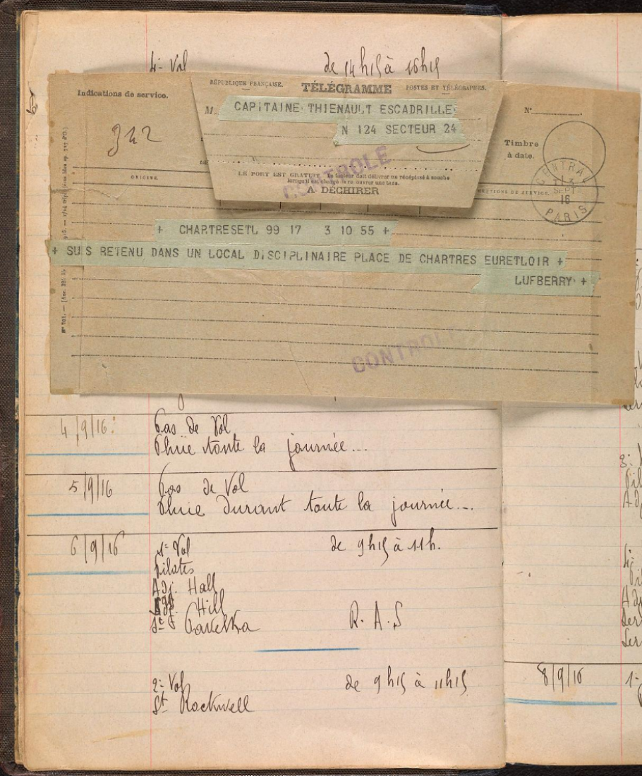 Page of Lafayette Escadrille logbook with telegram to Captain Thenault