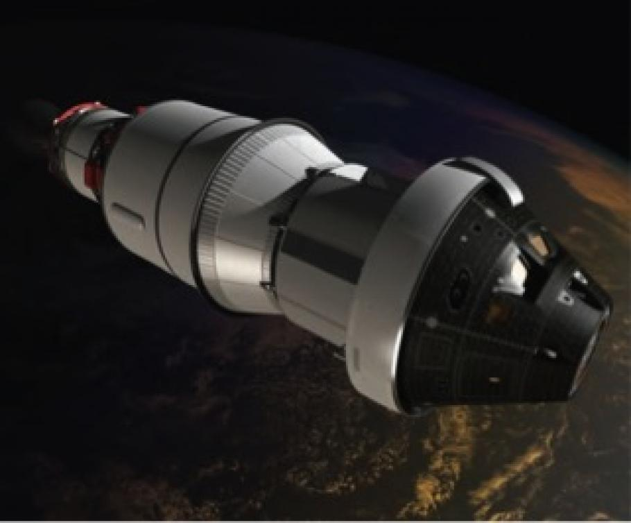 Orion in orbit showing crew module on the right