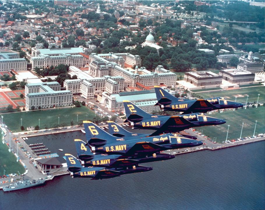 BlueAngles flying in formation overthe training aircraft carrier