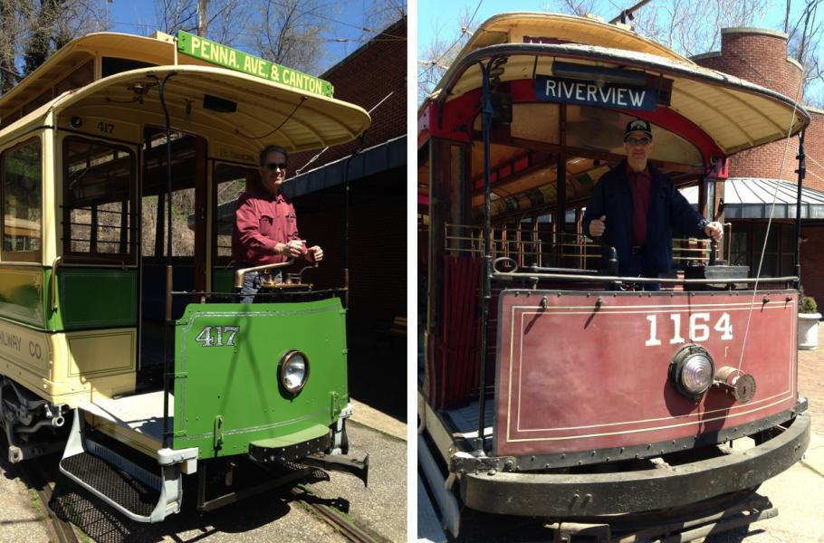 The author at the controls of two trolleys