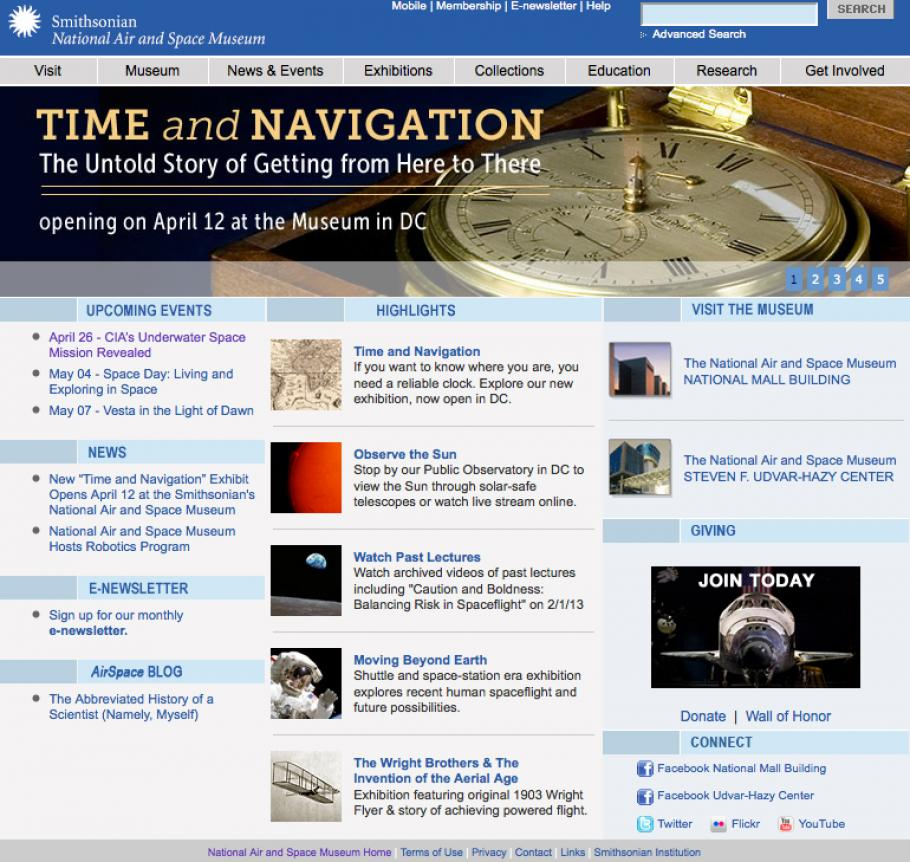 The former National Air and Space Museum website home page.