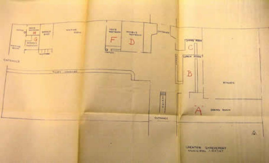 Sketch of the floor plan of Greater Shreveport Municipal Airport.