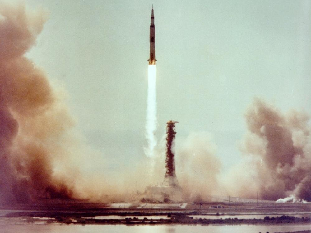 Wide shot of Apollo 11 launch.