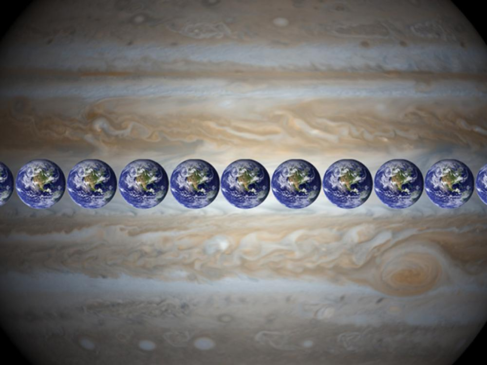An image of Jupiter with 11 Earth's lined up across its diameter.