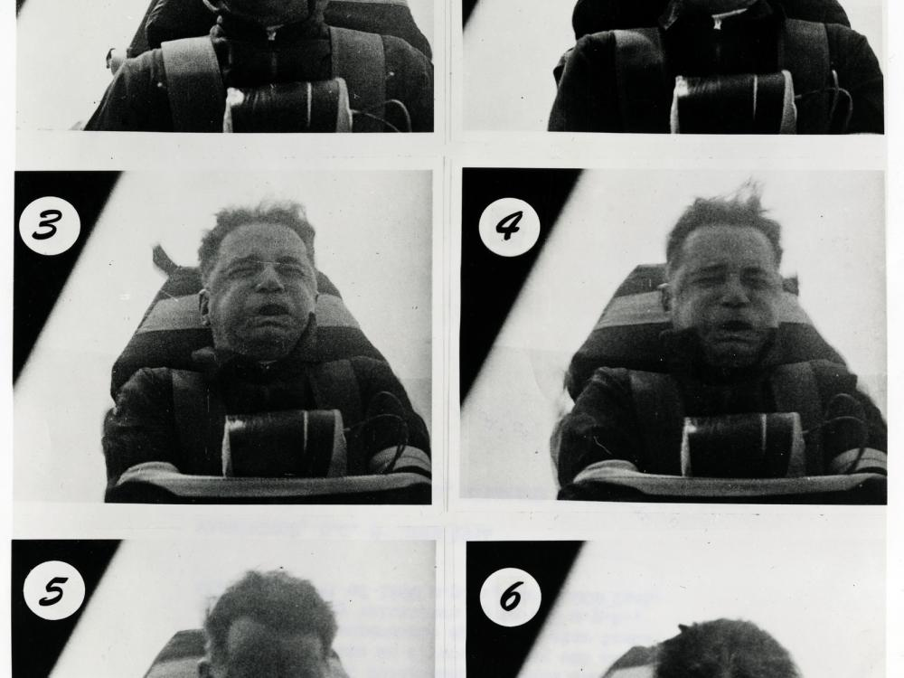 Composite showing Col. Stapp during rocket sled test