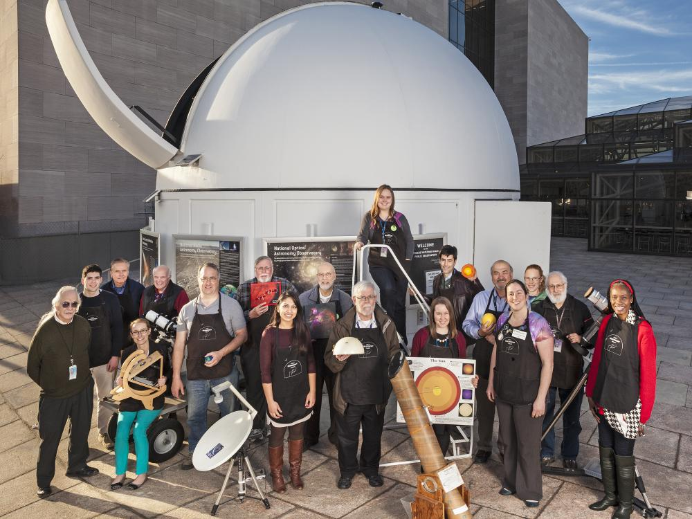 Staff and volunteers outside of the Phoebe Waterman Haas Public Observatory.