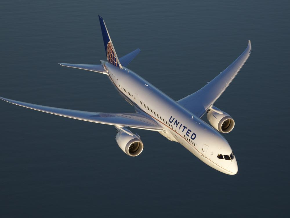 A United Airlines787 Dreamliner in flight.