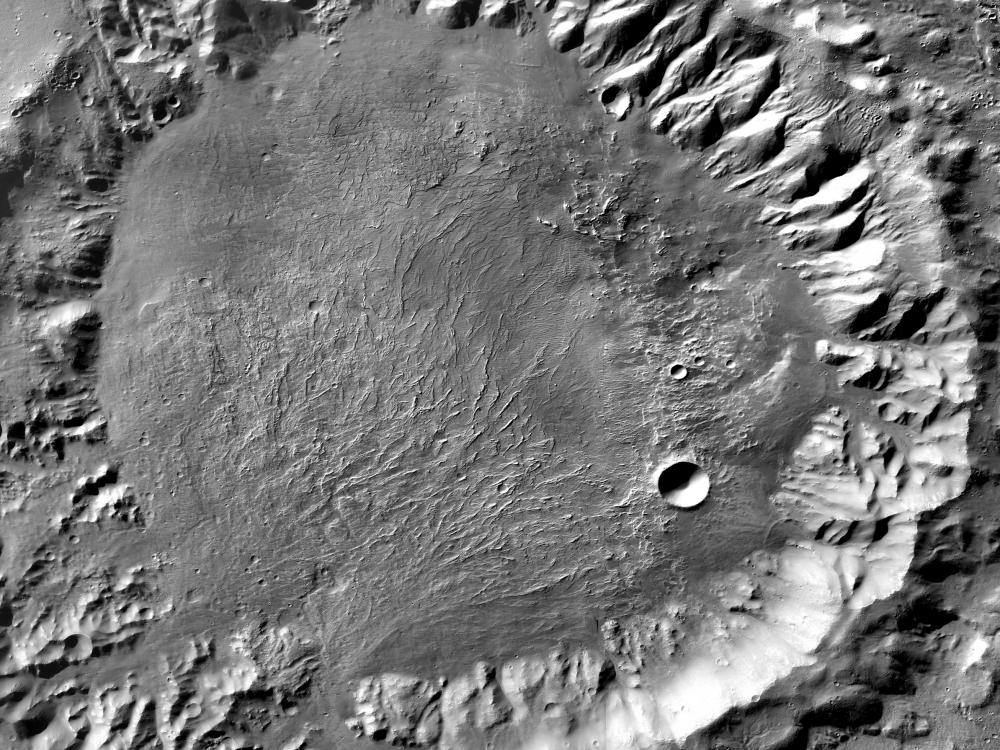 Alluvial Fans on the Floor of a Crater on Mars