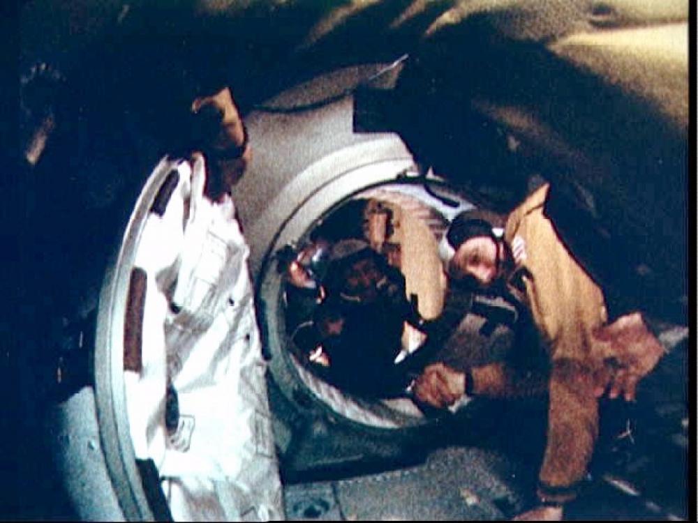 Stafford and Leonov Apollo-Soyuz Test Project (ASTP) Handshake