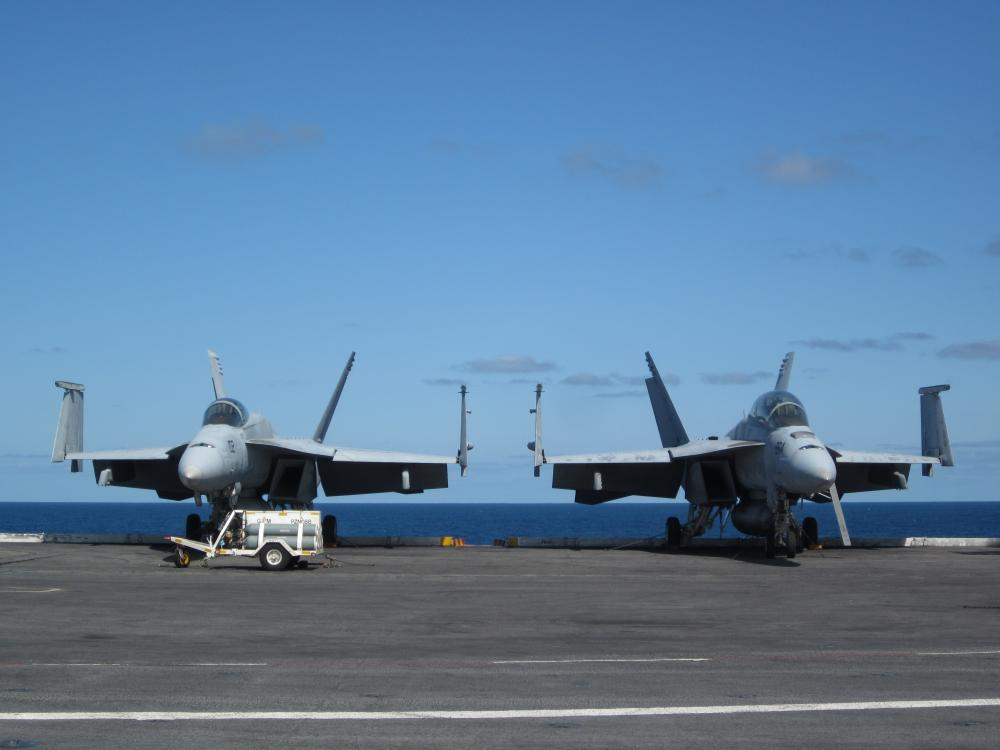 A photo of the USS Dwight D. Eisenhower aircraft carrier.