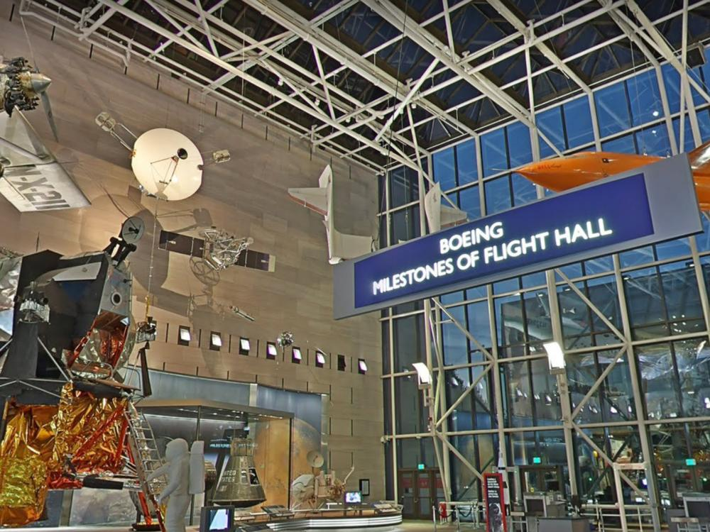 Wide panoramic view inside the Museum in Washington, DC showing the Boeing Milestones of Flight Hall