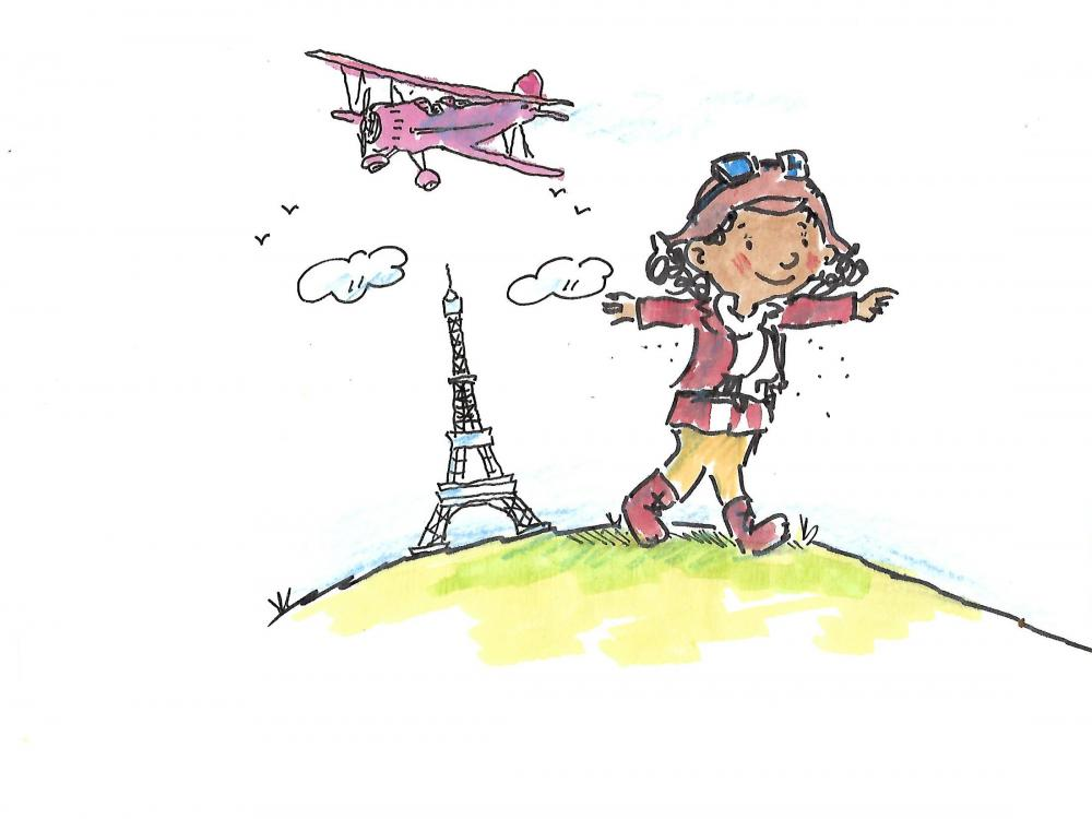 An illustration of young Bessie Coleman.