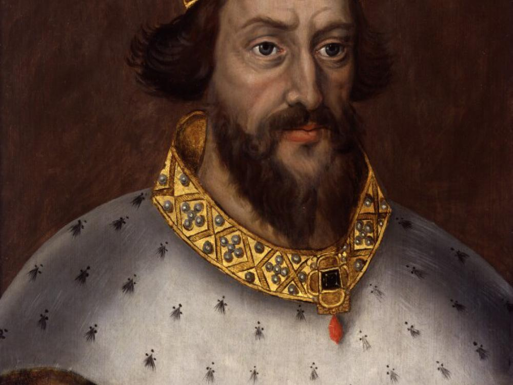 Portrait painting of man with beard, crown, and robes.
