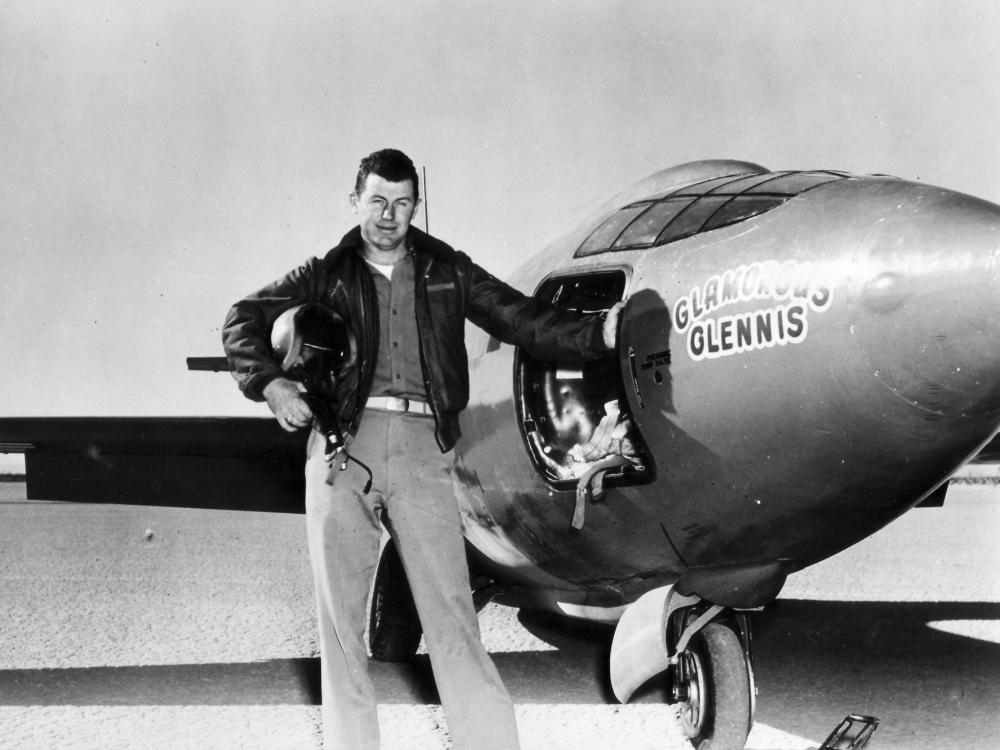 """Charles """"Chuck"""" Yeager with Bell X-1"""