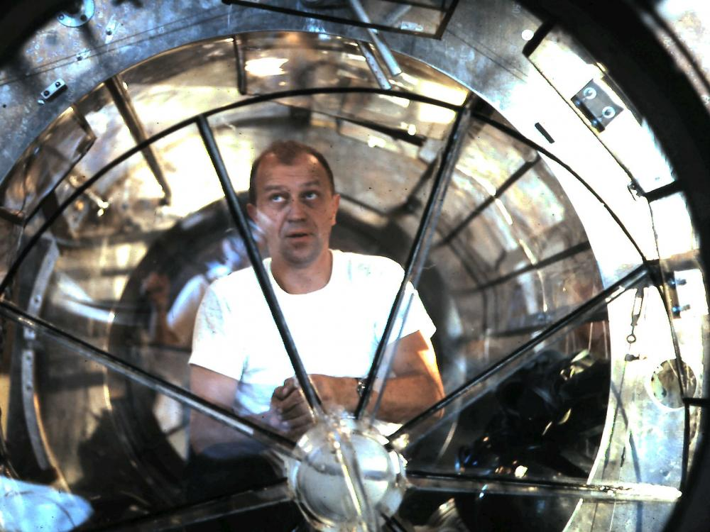 G. Samuel Mattingly in the Orbital Workshop mockup