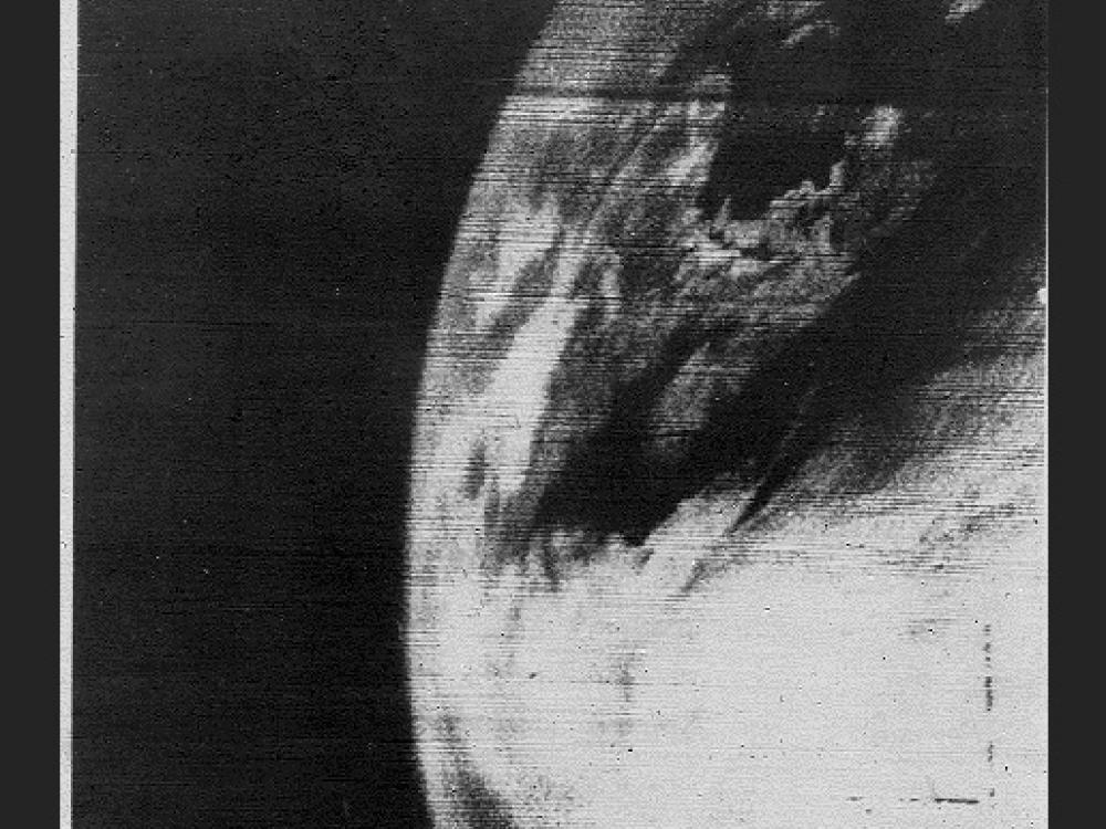 Image taken on April 1, 1960 by TIROS 1. This was the first television picture of Earth from space.