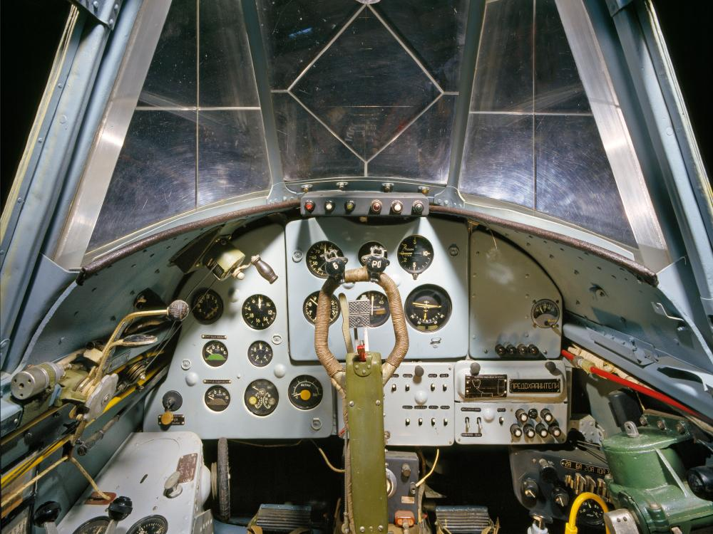 View of the cockpit as if you were sitting in the pilot's seat.