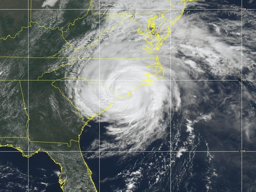 An image of Hurricane Florence taken from a GOES satellite on September 14, 2018.