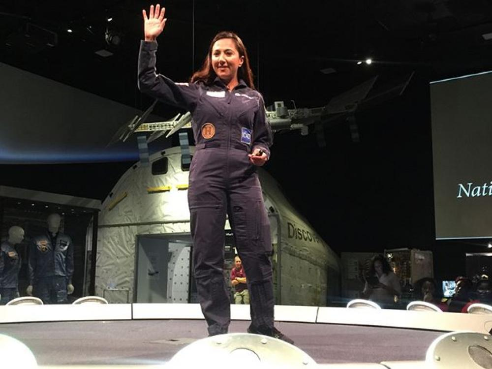 Pilot Shaesta Waiz, of Dreams Soar Inc., speaking to public school students at the National Air and Space Museum.
