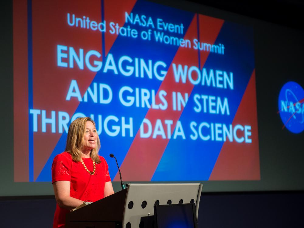 Ellen Stofan, then NASA Chief Scientist, speaking at the Engaging Women and Girls in STEM through Data Science event on Wednesday, June 15, 2016.