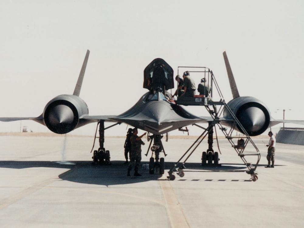 A ladder is used to access the cockpit of the SR-71.