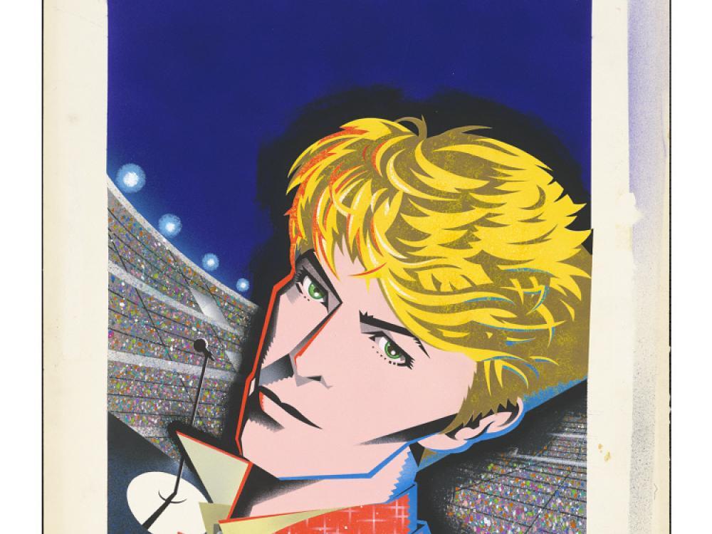 man with blond hair in stadium