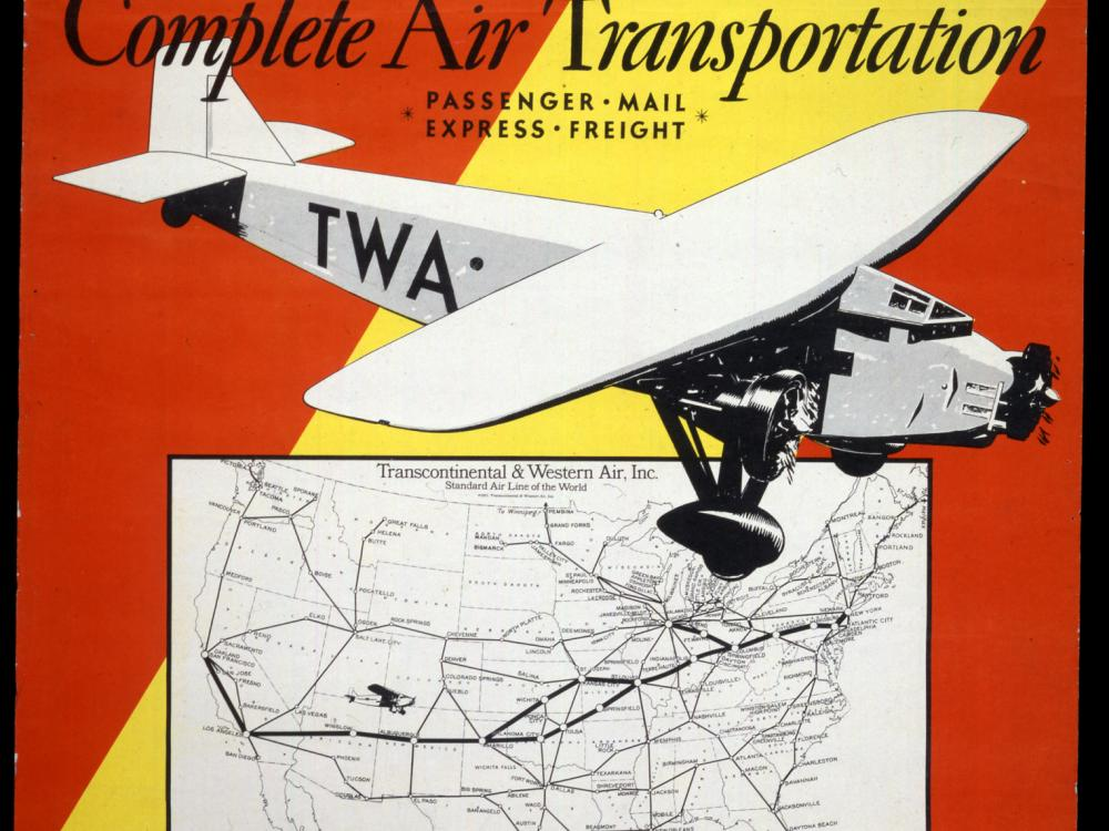 New York City 1957 Times Square TWA Airline Vintage Poster Print Travel Tourism