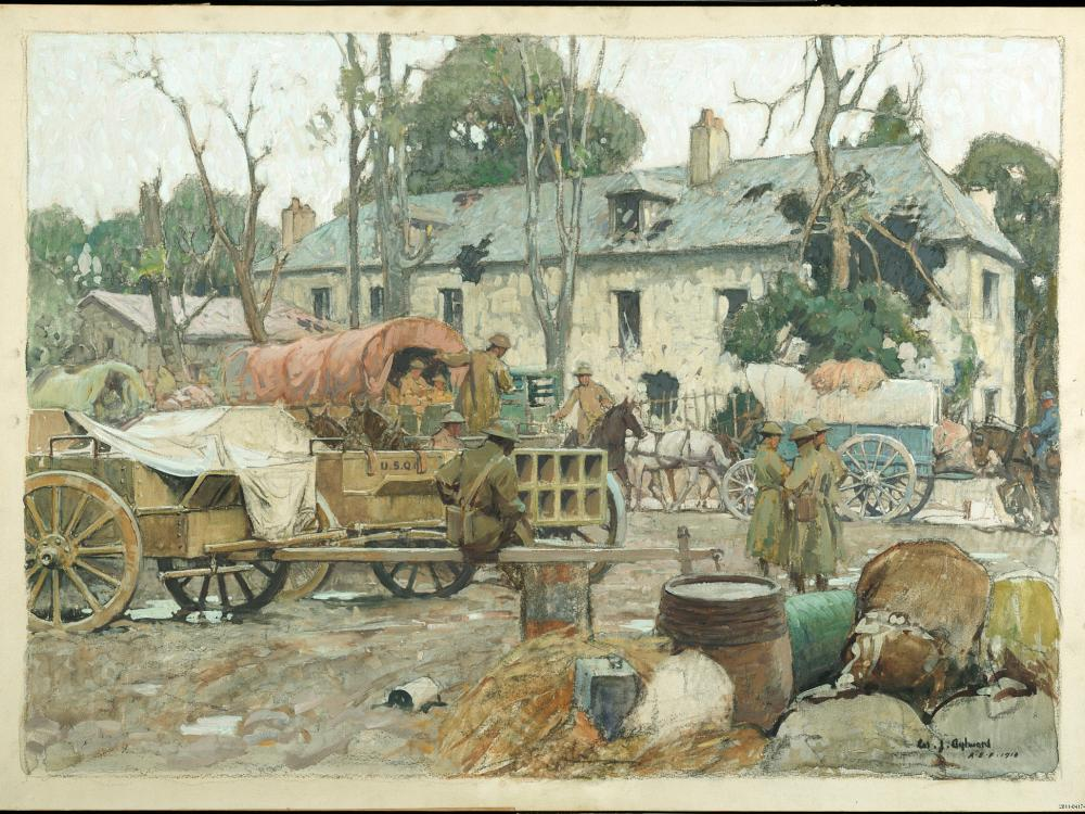 Wagons carrying supplies.