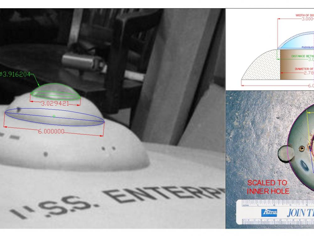 Image of bridge dome with measurements on top and to the right AutoCAD drawings.