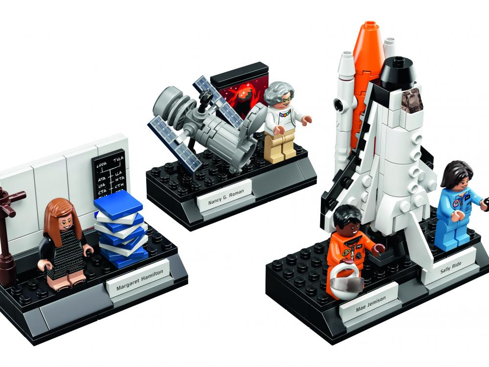 "A photo of the ""Women of NASA"" Lego collection."