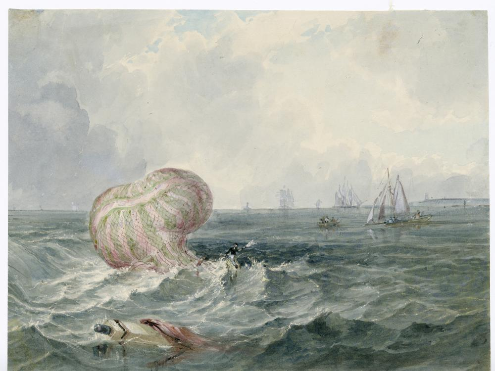 Balloon crashed in ocean.