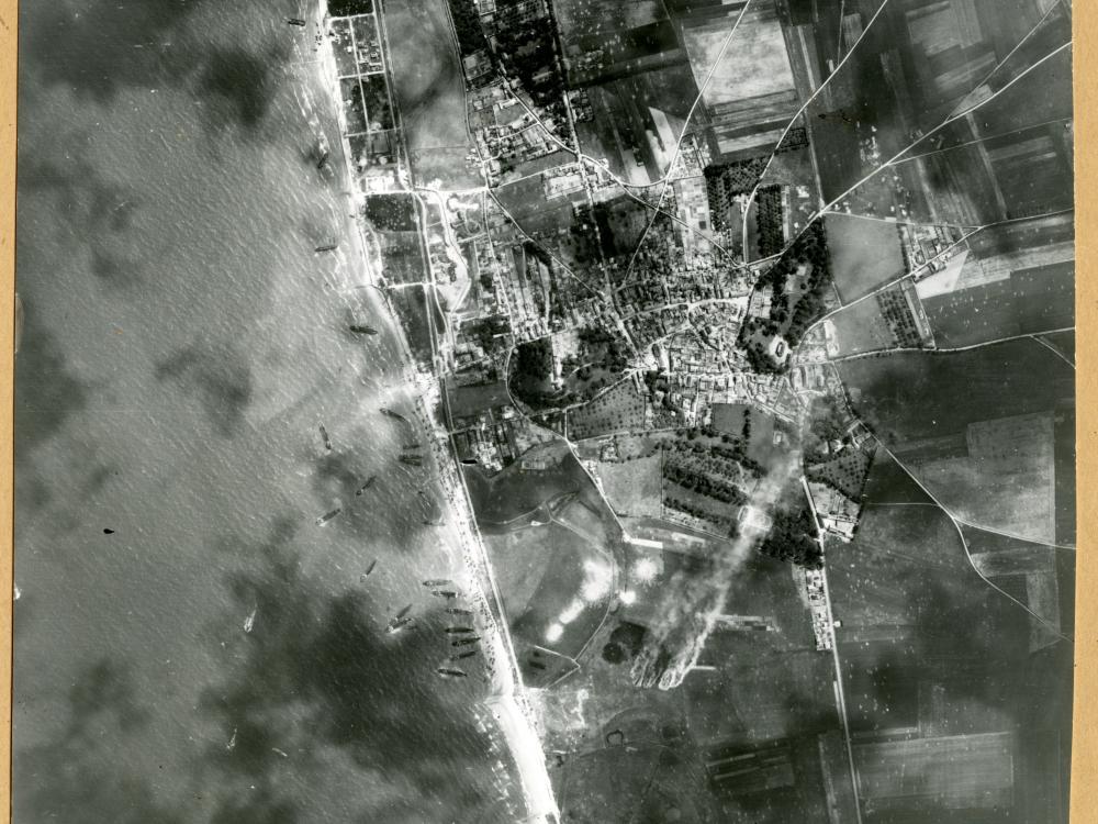 Landing Craft Along Normandy Beach
