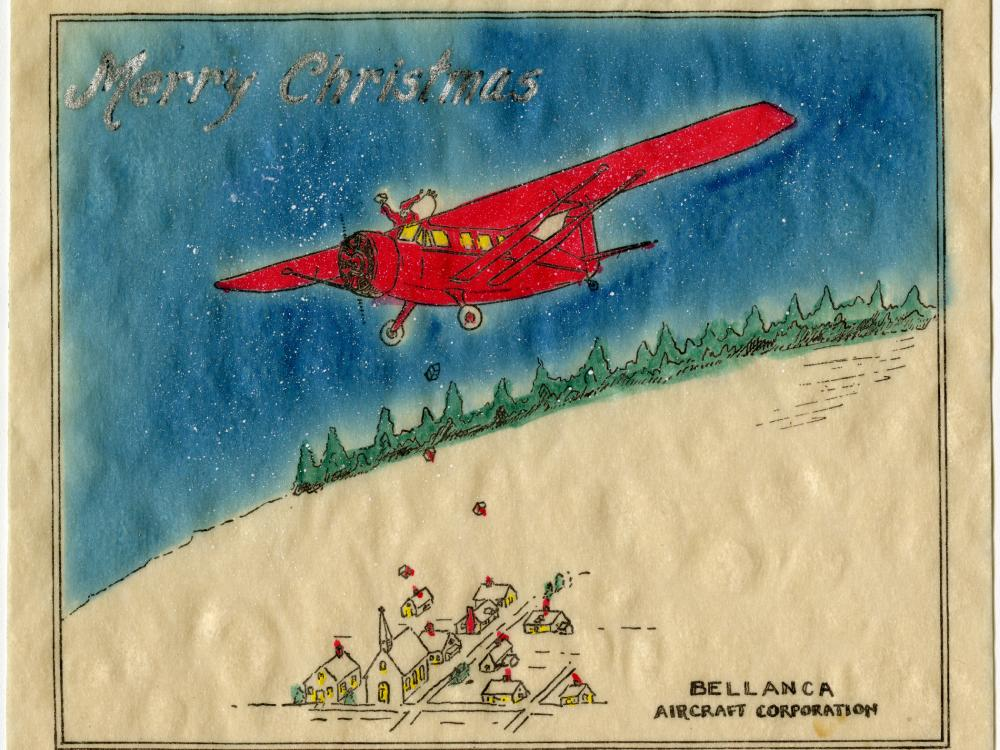 Drawing of Santa Claus in a Bellanca Skyrocket