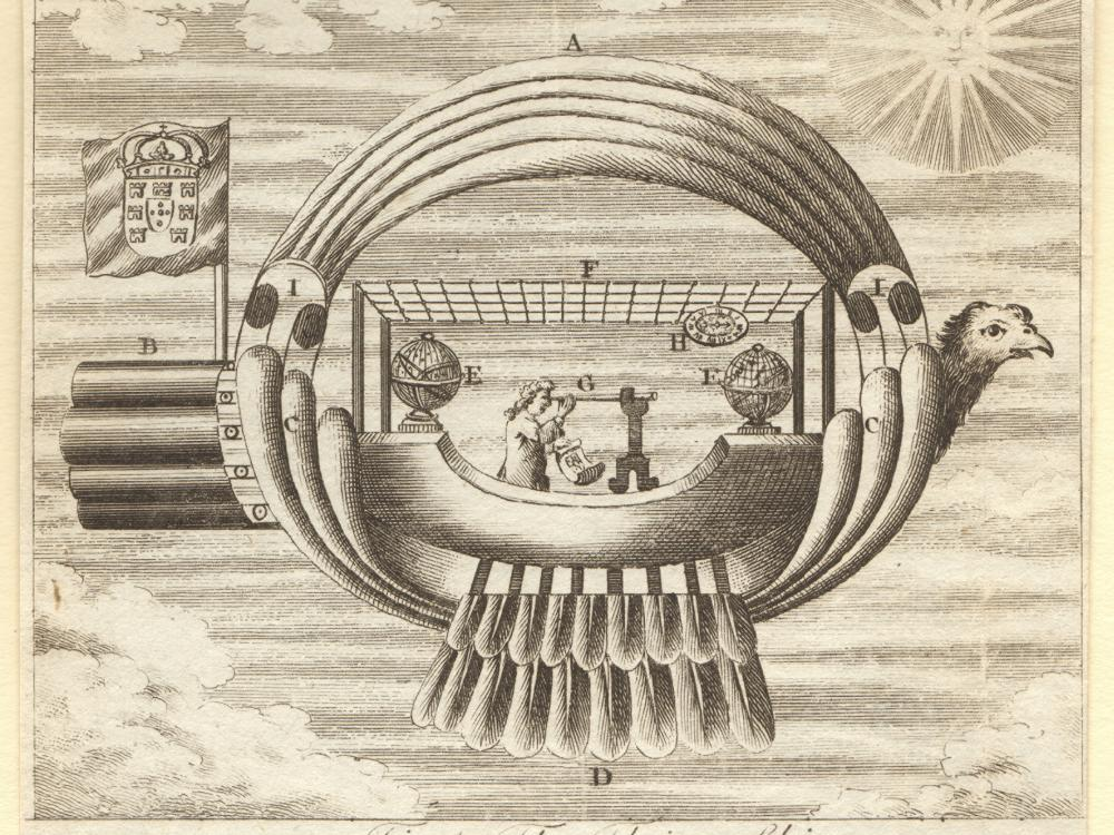 Etching of a ship-like flying machine.