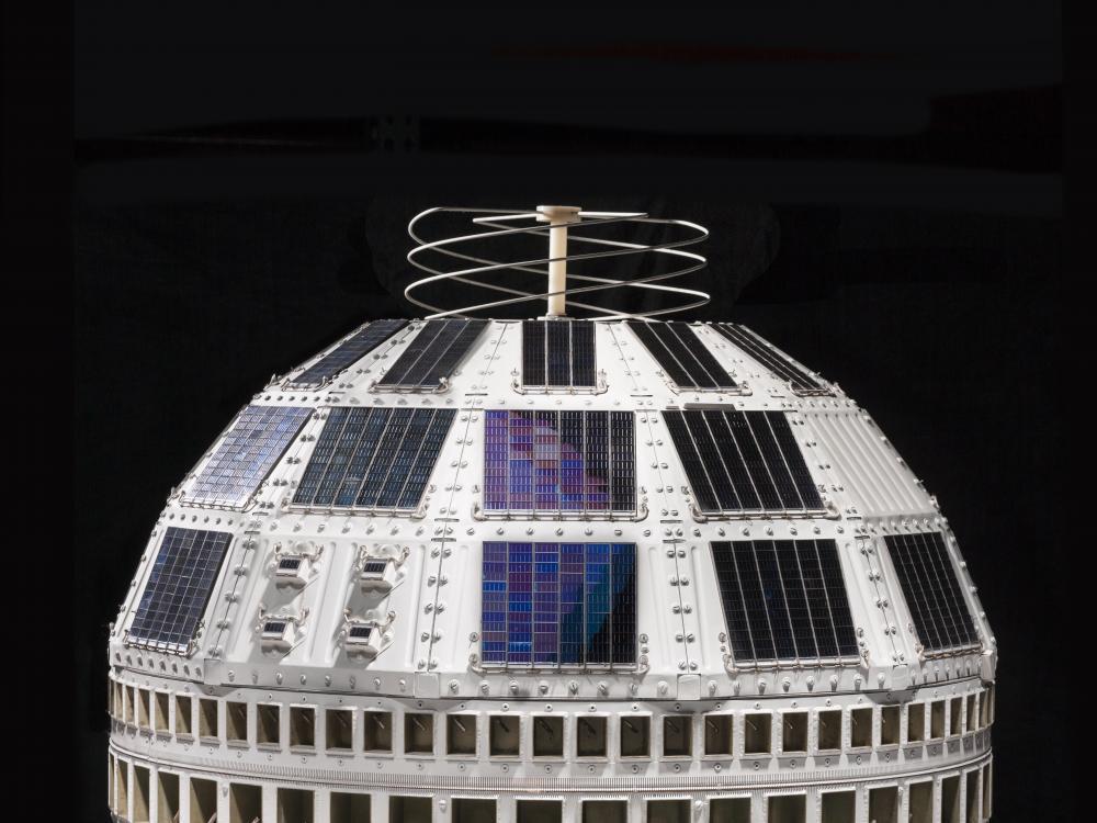 Telstar Satellite on Display in the Boeing Milestones of Flight Hall