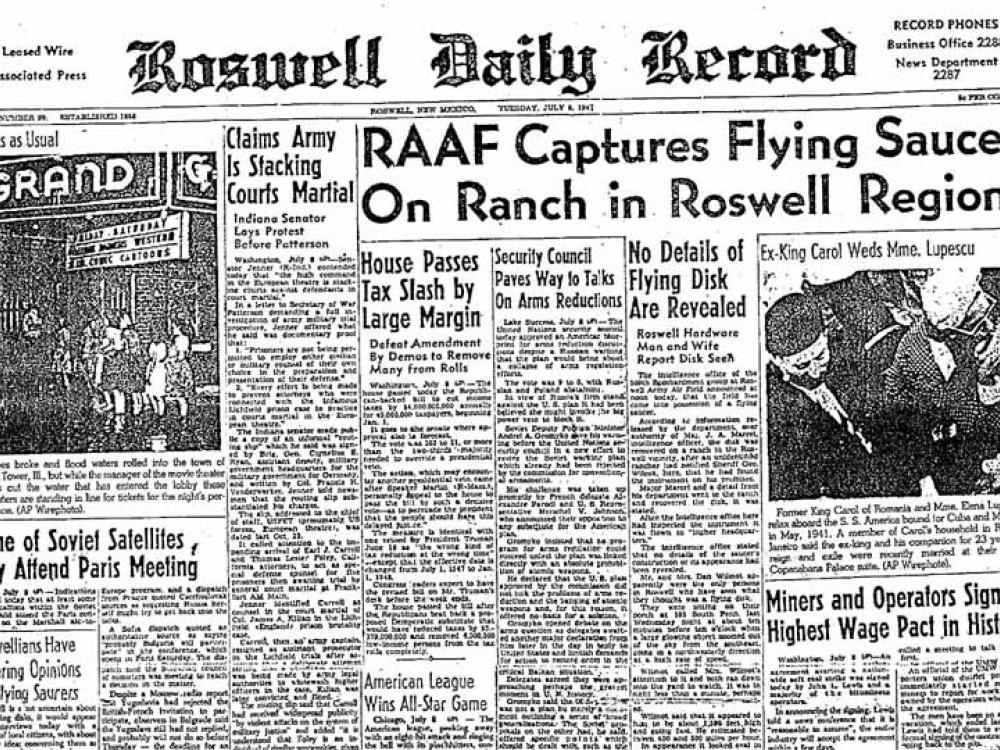 """Front page of newspaper with headline: """"RAAF Captures Flying Saucer on Ranch in Roswell Region"""""""