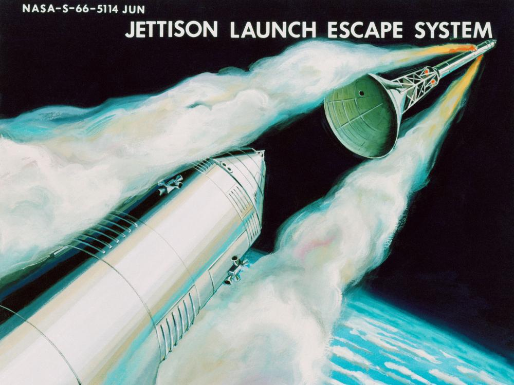 Colorful depiction of Apollo Launch Escape with Earth in background.