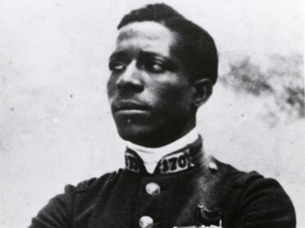 Black and white photograph of Eugene Bullard