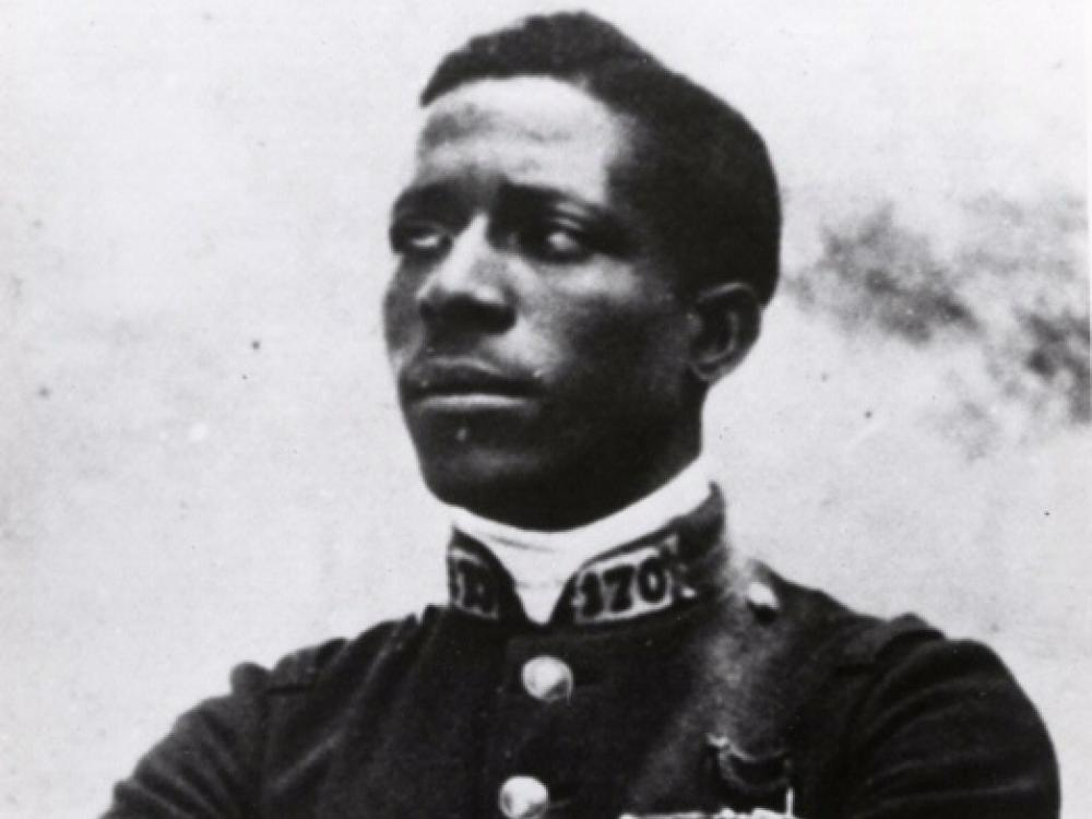 Black and white photograph of Eugene Bullard