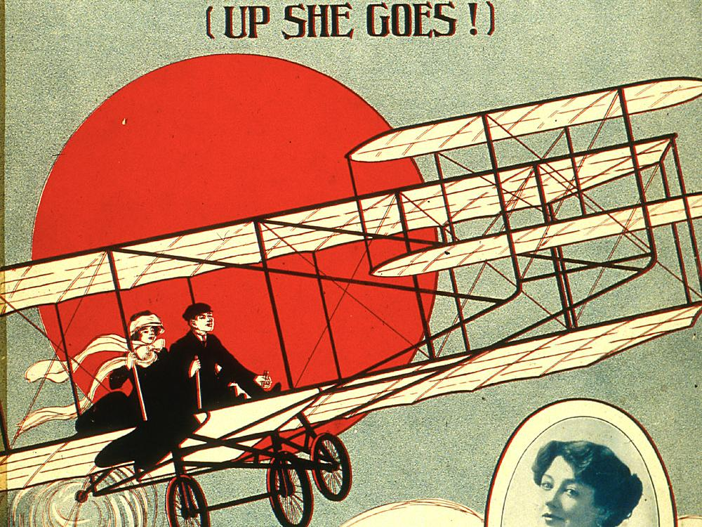 Sheet music cover featuring a biplane/