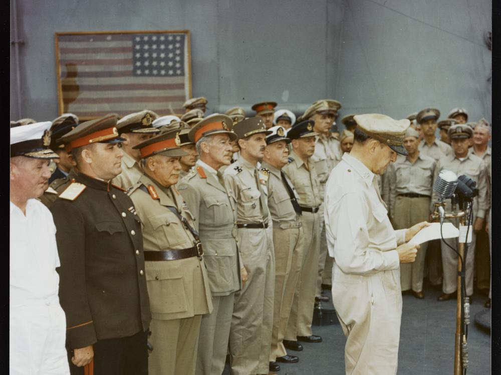 Representatives of the major Allied powers at surrender ceremony