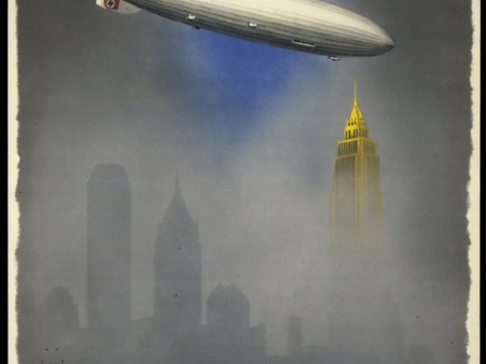 Poster depicting the Hindenburg approaching the Empire State Building and New York skyline in the fog.