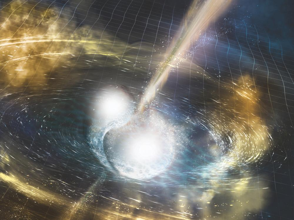 An artist's illustration of two merging neutron stars.