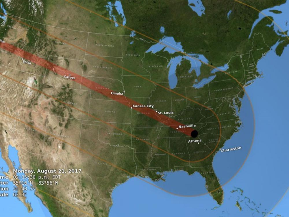Map of the United States showing the path of totality